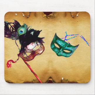 MARDI GRAS MASQUERADE parchment Mousepads