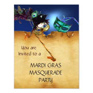 MARDI GRAS MASQUERADE PARTY, red blue black 11 Cm X 14 Cm Invitation Card
