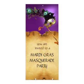 MARDI GRAS MASQUERADE PARTY, red purple 10 Cm X 24 Cm Invitation Card