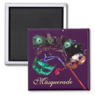 MARDI GRAS MASQUERADE PARTY SQUARE MAGNET