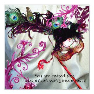 MARDI GRAS MASQUERADE PARTY, WHITE SILK CLOTH 13 CM X 13 CM SQUARE INVITATION CARD