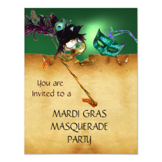 MARDI GRAS MASQUERADE PARTY, Yellow green 11 Cm X 14 Cm Invitation Card