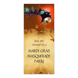 MARDI GRAS MASQUERADE PARTY, Yellow Orange 10 Cm X 24 Cm Invitation Card