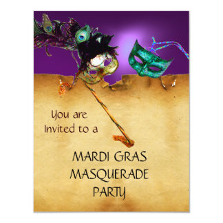 MARDI GRAS MASQUERADE PARTY, Yellow purple blue 11 Cm X 14 Cm Invitation Card