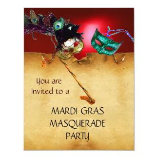 MARDI GRAS MASQUERADE PARTY, Yellow red 11 Cm X 14 Cm Invitation Card