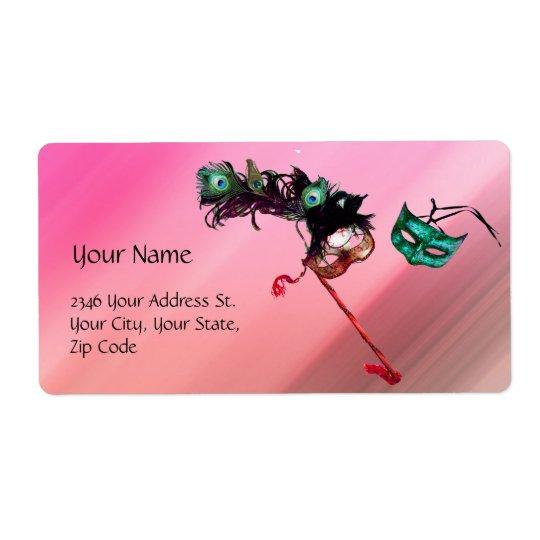MARDI GRAS MASQUERADE pink fuchsia blue black silk Shipping Label