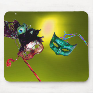 MARDI GRAS MASQUERADE yellow Mouse Pads