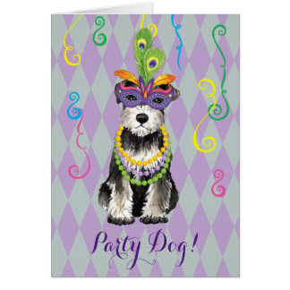 Mardi Gras Mini Schnauzer Card