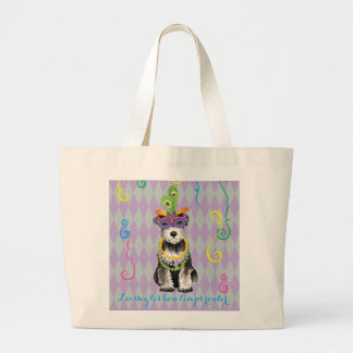 Mardi Gras Mini Schnauzer Large Tote Bag