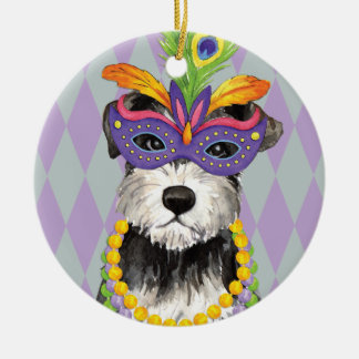 Mardi Gras Mini Schnauzer Round Ceramic Decoration