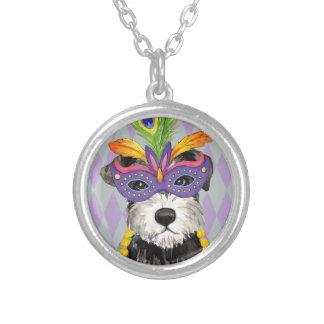 Mardi Gras Mini Schnauzer Silver Plated Necklace