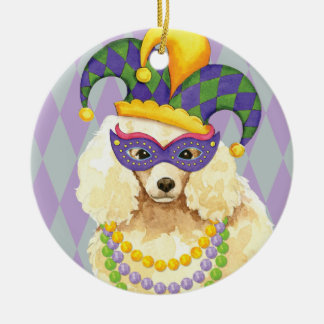 Mardi Gras Miniature Poodle Christmas Ornament