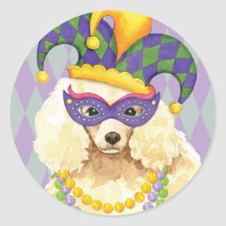 Mardi Gras Miniature Poodle Classic Round Sticker