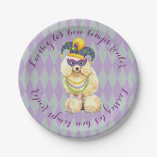 Mardi Gras Miniature Poodle Paper Plate