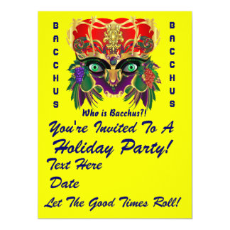 Mardi Gras Mythology Bacchus View Hints Please 17 Cm X 22 Cm Invitation Card