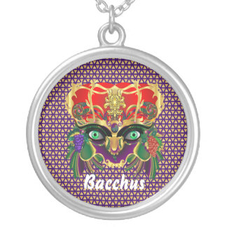 Mardi Gras Mythology Bacchus View Hints Please Round Pendant Necklace