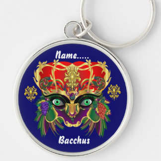 Mardi Gras Mythology Bacchus View Hints Please Silver-Colored Round Key Ring