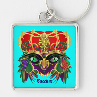 Mardi Gras Mythology Bacchus View Hints Please Silver-Colored Square Key Ring