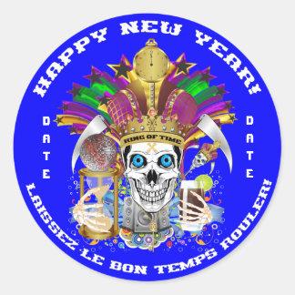 Mardi Gras New Year Customize View Notes Please Round Sticker