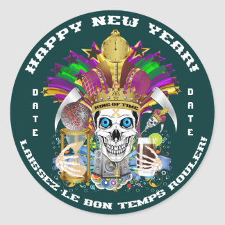 Mardi Gras New Year Customize View Notes Please Round Sticker