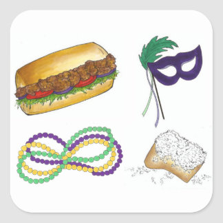 Mardi Gras NOLA New Orleans Mask Beads Beignets Square Sticker