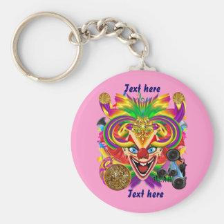Mardi Gras Party Clown View Hints Please Basic Round Button Key Ring