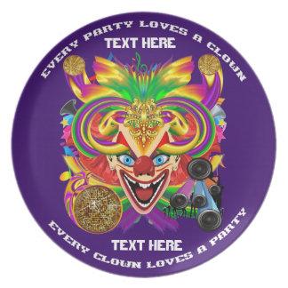 Mardi Gras Party Clown View Hints Please Plates