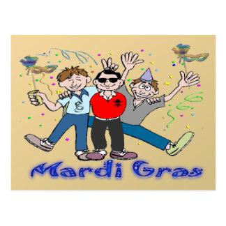 Mardi Gras Party Guys Postcard