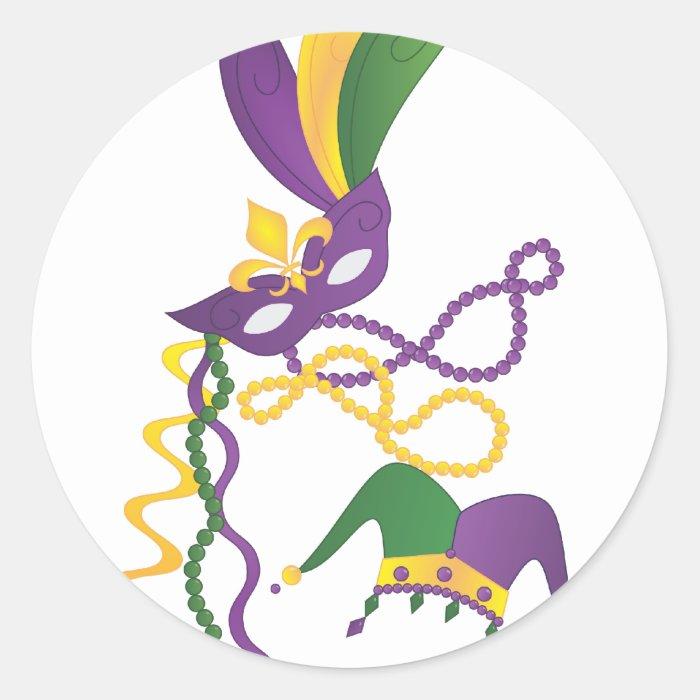 Mardi Gras Party Round Sticker