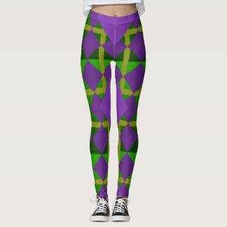 Mardi Gras Patterned Green Purple Gold Leggings