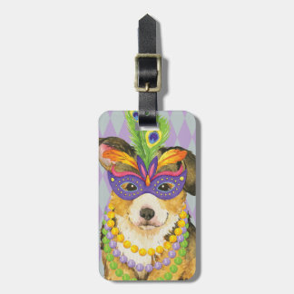 Mardi Gras Pembroke Welsh Corgi Luggage Tag