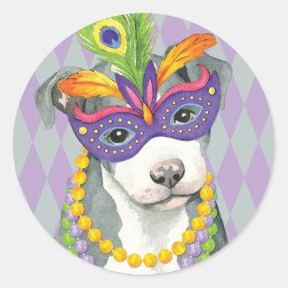 Mardi Gras Pit Bull Classic Round Sticker