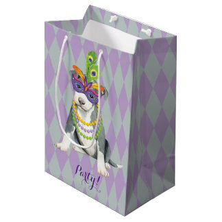 Mardi Gras Pit Bull Medium Gift Bag