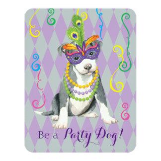 Mardi Gras Pit Bull Terrier 11 Cm X 14 Cm Invitation Card