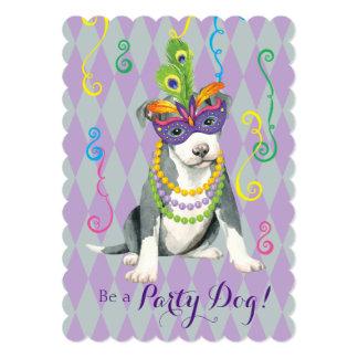 Mardi Gras Pit Bull Terrier 13 Cm X 18 Cm Invitation Card