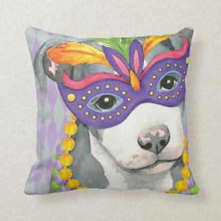 Mardi Gras Pit Bull Terrier Cushion