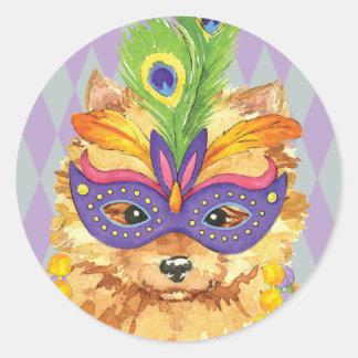 Mardi Gras Pomeranian Classic Round Sticker