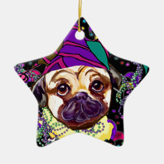 MARDI GRAS PUG CHRISTMAS ORNAMENT