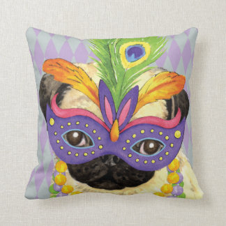 Mardi Gras Pug Cushion