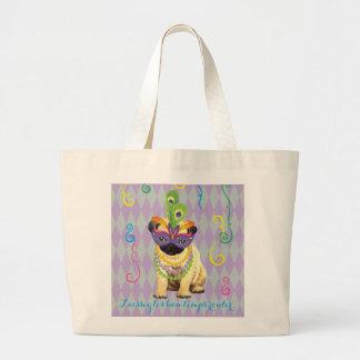 Mardi Gras Pug Large Tote Bag