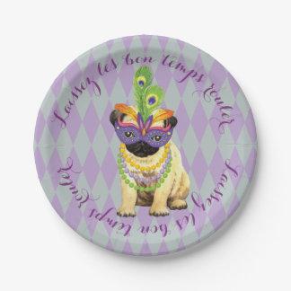 Mardi Gras Pug Paper Plate