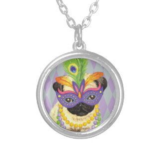 Mardi Gras Pug Silver Plated Necklace