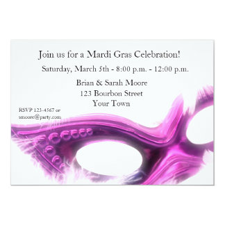 Mardi Gras Purple Mask Invitation