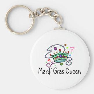 Mardi Gras Queen Basic Round Button Key Ring