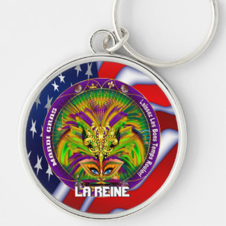 Mardi Gras Queen Style 2 View Notes Plse Silver-Colored Round Key Ring