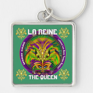 Mardi Gras Queen Style 2 View Notes Plse Silver-Colored Square Key Ring