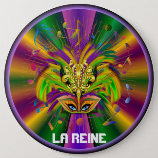 Mardi Gras Queen Style 3 View Notes Plse 6 Cm Round Badge