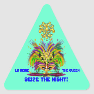 Mardi Gras Queen View Notes Please Triangle Sticker
