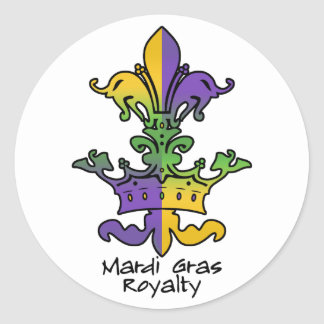 Mardi Gras Royalty Round Sticker