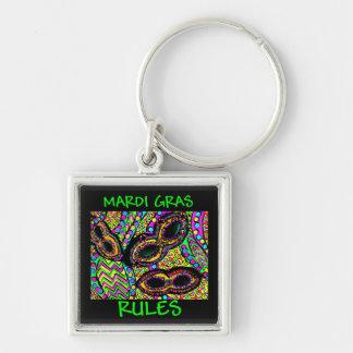 MARDI GRAS RULES Silver-Colored SQUARE KEY RING